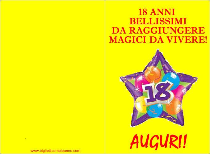 abbastanza Biglietto Compleanno: Biglietto Auguri 18 anni, con frase 18 anni  CL59