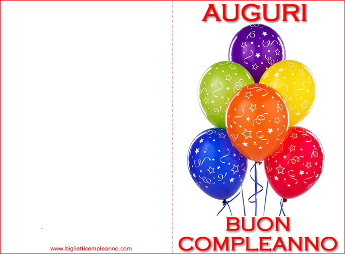 Popolare Biglietto Compleanno: Biglietto Auguri Compleanno da stampare  JH42