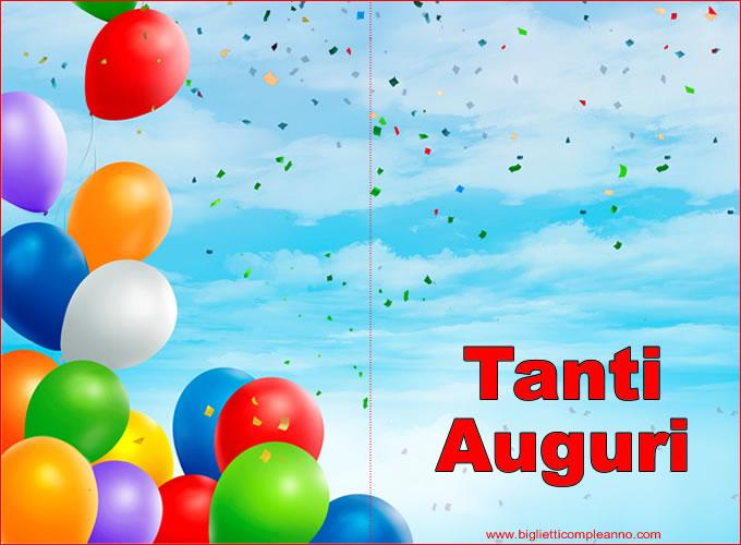 Biglietto Auguri Compleanno da stampare con palloncini e Auguri Buon Compleanno