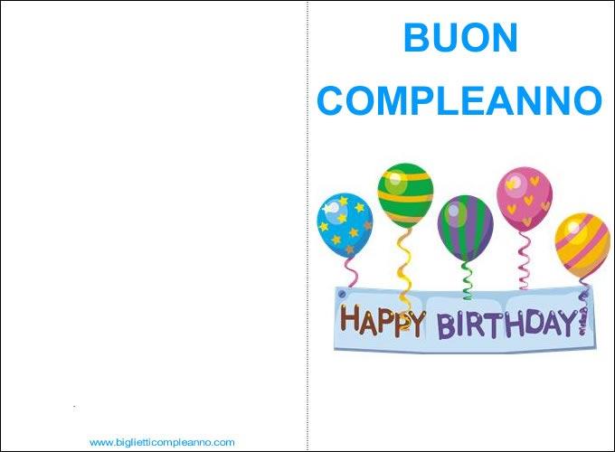 Biglietto Buon Compleanno con palloncini e scritta Happy Birthday