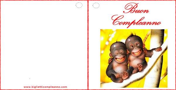 Biglietto Compleanno Amicizia, con divertenti scimmiette