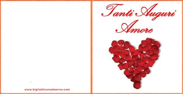 Estremamente Biglietto Compleanno: Biglietto Auguri Amore, con cuore di petali RX34