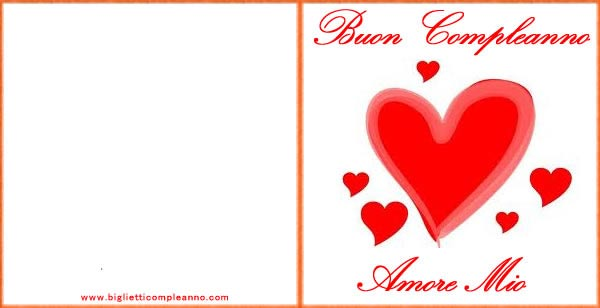 Biglietto Auguri Compleanno Amore, con dolce cuore rosso
