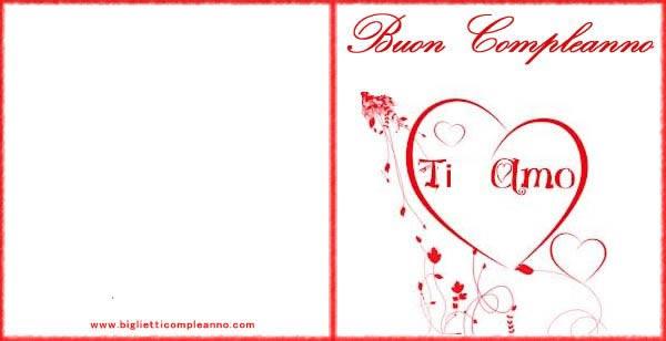 Biglietto Compleanno Amore con scritta Ti Amo