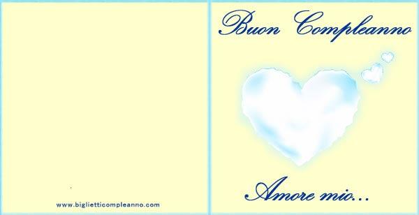 Biglietto Compleanno Amore, con cuore azzurro