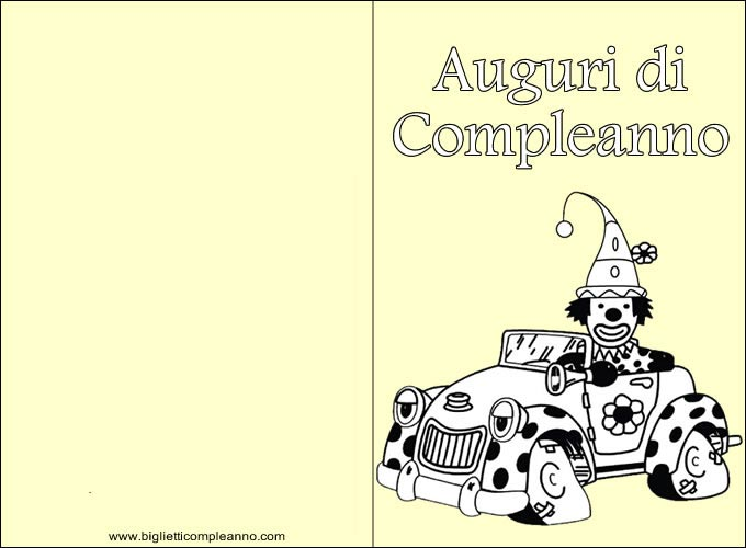 Biglietto Auguri Compleanno da colorare, con simpatico e divertente clown da Colorare