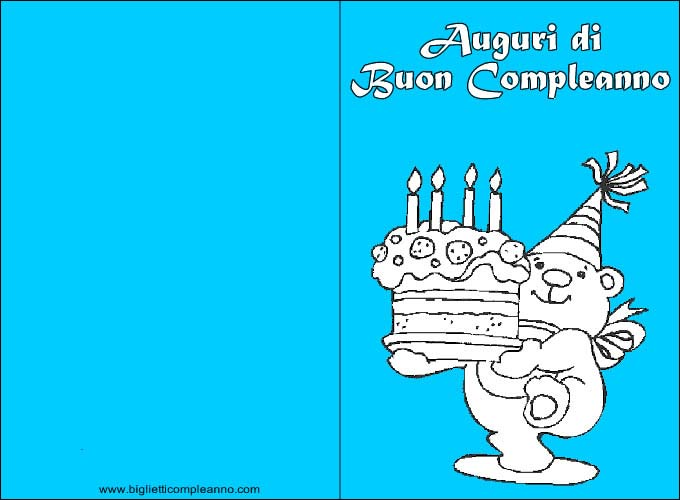 Biglietto Compleanno Biglietto Compleanno Da Colorare Con Orso E
