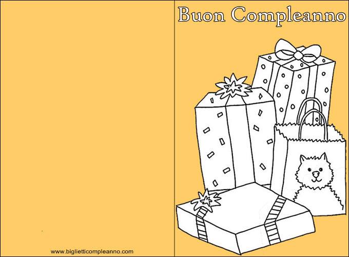 Biglietto Buon Compleanno da colorare, con tanti regali da Colorare