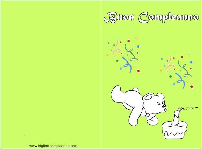 Biglietto Compleanno da colorare, con divertente orsetto da Colorare