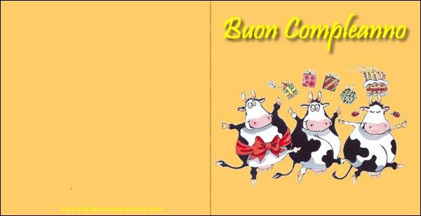 Biglietto Compleanno, con simpatiche mucche per divertenti auguri di Compleanno