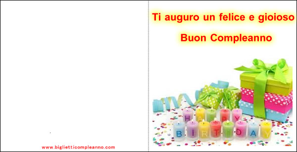 Biglietto Buon Compleanno, con pacchi regalo e candele colorate
