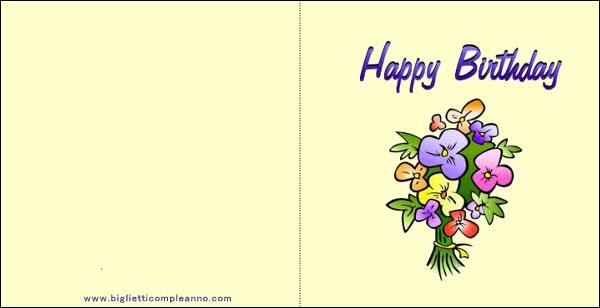 Mazzo Di Fiori Happy Birthday.Biglietto Compleanno Biglietto Happy Birthday Con Mazzo Di Fiori