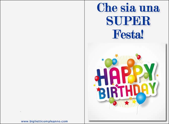 Famoso Biglietto Compleanno: Biglietti auguri da stampare per i migliori  SM97