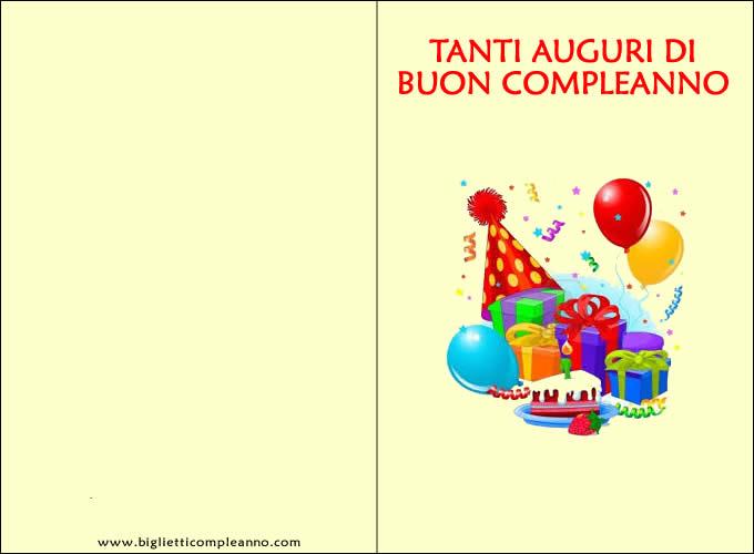Biglietti Tanti auguri di compleanno da stampare con regali e palloncini di compleanno
