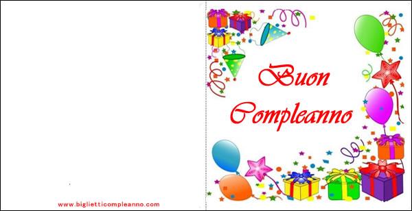 Favoloso Biglietto buon Compleanno:biglietto di buon compleanno da stampare KN73