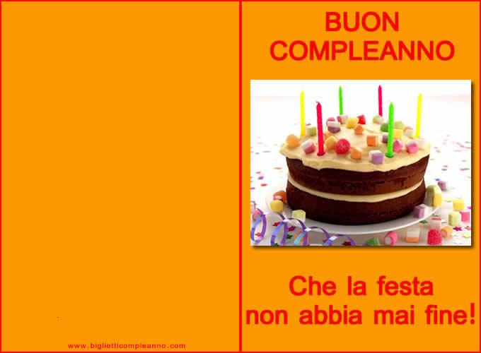 Biglietto compleanno auguri da stampare con deliziosa torta di compleanno