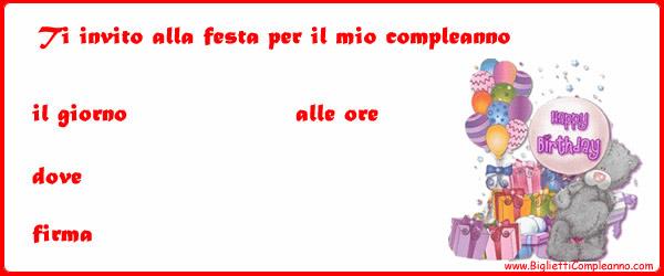 Biglietto Invito Compleanno Orsetto con regali e palloncini